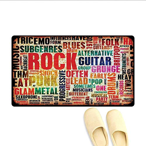Doormat Retro Rock and Roll Symbol Lettering Grunge Distressed Colors Back Then Sound Music Theme Bath Mat for Tub Multi -