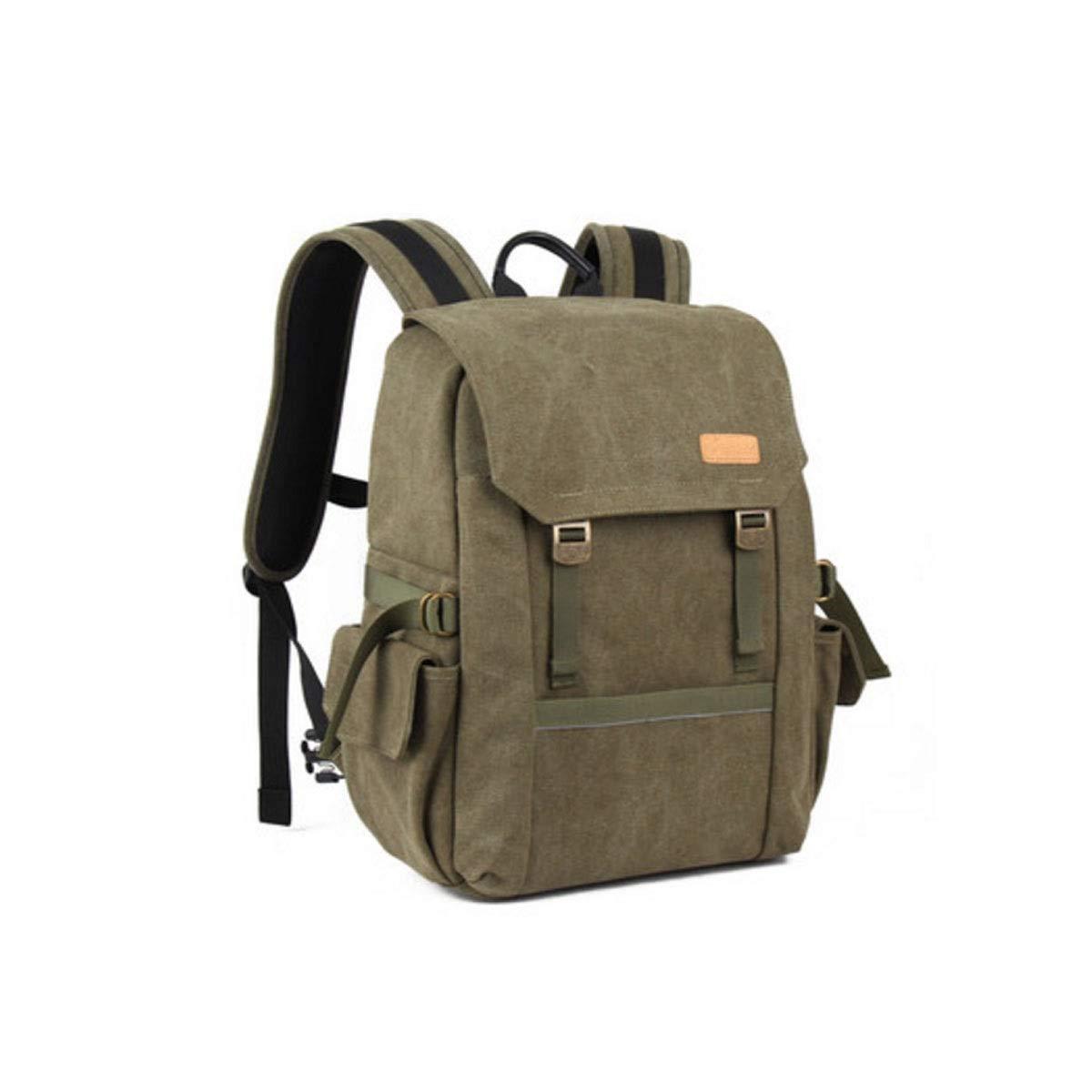 カメラバッグ、ショルダー一眼レフカメラのバックパックバッグ、プロの旅行アウトドアキャンバスカメラバッグ、ミリタリーグリーン (Color : Army green) B07R4XHP87