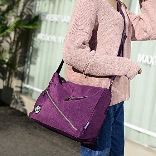 Fashion MeCooler Women Travel Waterproof Bag Bag Bag Side Bag for Messenger 1 Shoulder Black Body Blue Cross Crossbody Lightweight Casual rq78wrCz