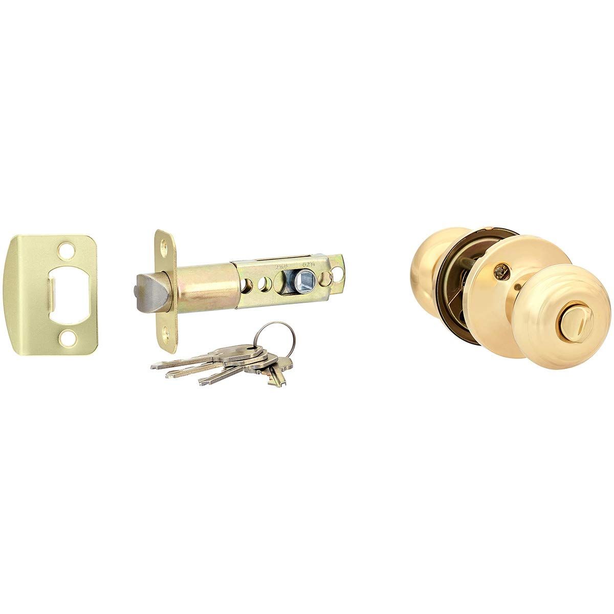 AmazonBasics Entry Knob and Deadbolt - Classic - Polished Brass – 2-Pack by AmazonBasics (Image #2)