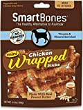 SmartBones Chicken Wrapped Sticks Dog Chews, Peanut Butter, Mini, 15 Count, 24 Pack