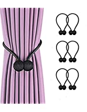 Magnetic Curtain Tiebacks, Pack of 6 Decorative Window Curtain Clips Rope Holdbacks Tie Backs for Home Office Window Decoration, No Drilling and Holes Required (Black)