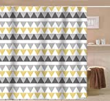 Yellow Shower Curtain Sunlit Geometric Patterned Shower Curtain Triangle Pattern Bathroom Home Decor Yellow Gray Striped 72x72 Water Repellent Fabric