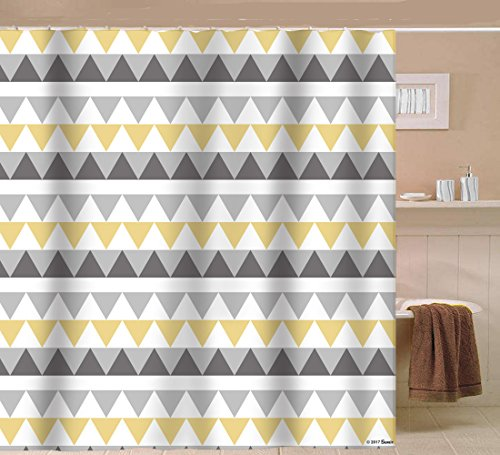 Sunlit Geometric Patterned Shower Curtain Triangle Pattern Bathroom Home Decor Yellow Gray Striped 72x72 Water Repellent Fabric