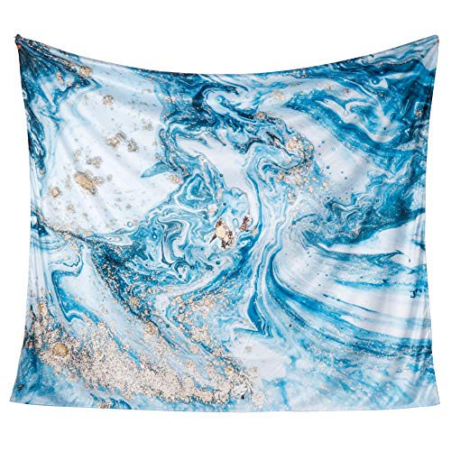 "iLeadon Tapestry Wall Hanging Decor-Blue Marble Tapestries Wall Art Cotton Headboard Home Decor for Bedroom Dorm Living Room,51""H x 60""W"