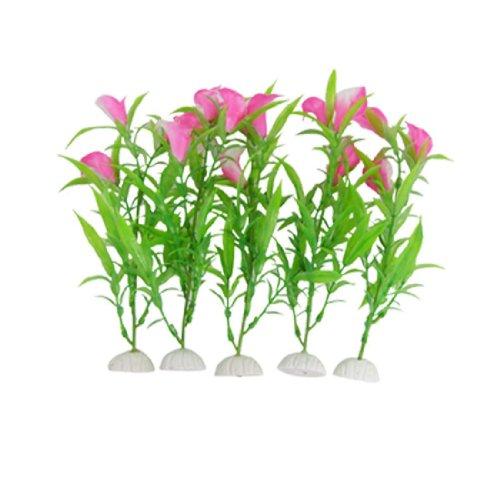 kathy-mall-5pcs-calla-lily-fish-tank-aquarium-decor-plastic-bright-rose-pink-white-ornaments-88-inch