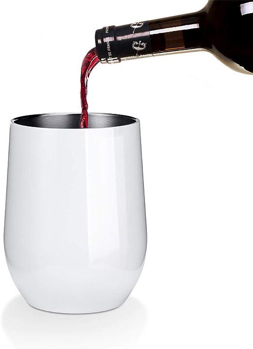 Vac/ío de Doble Pared Viajera Taza de Caf/é con Pajitas Pinceles para Vino Bebidas Blanca 12 oz Wine Tumbler de Acero Inoxidable ONMIER 2 PCS Copa de Vino con Tapa sin Tallo