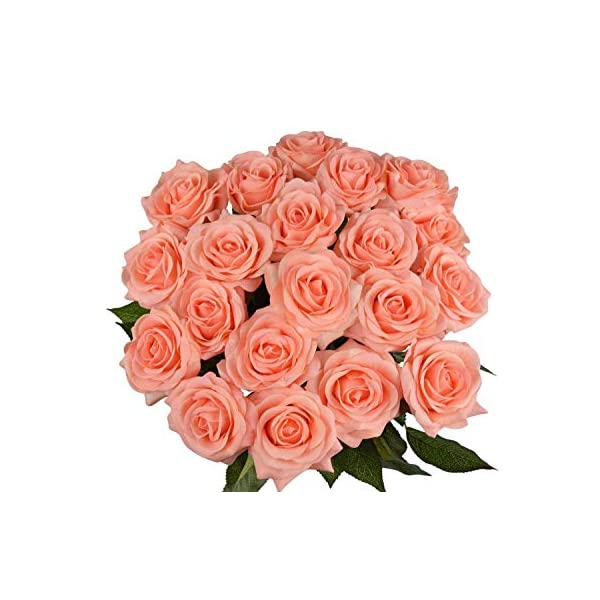 10 Pcs Real Touch Silk Artificial Rose Flowers Silk Gluing PU Fake Flower Home Decorations for Wedding Party or Birthday Garden Bridal Bouquet Flower Saint Valentine's Day Gifts Party Event(Champagne)