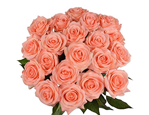 10 Pcs Real Touch Silk Artificial Rose Flowers Silk Gluing PU Fake Flower Home Decorations for Wedding Party or Birthday Garden Bridal Bouquet Flower Saint Valentines Day Gifts Party Event(Champagne)