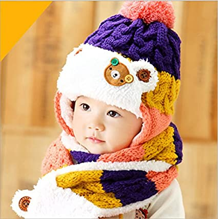 d2c5077d90d Buy Generic red   2017 baby cute bear design winter hat and scarf set  infant knit beanie bomber hats ear flaps red crochet snow cap for girls boys  Online at ...