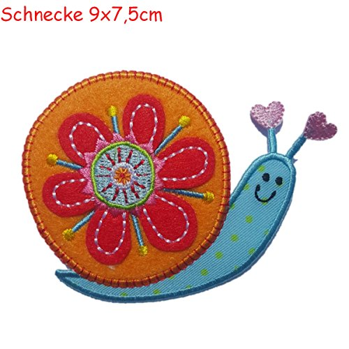 2 Embroidered Appliqus iron on Patches Hedgehog 9x7.5 and Snail 9x7,5cmcm TrickyBoo Design Zurich