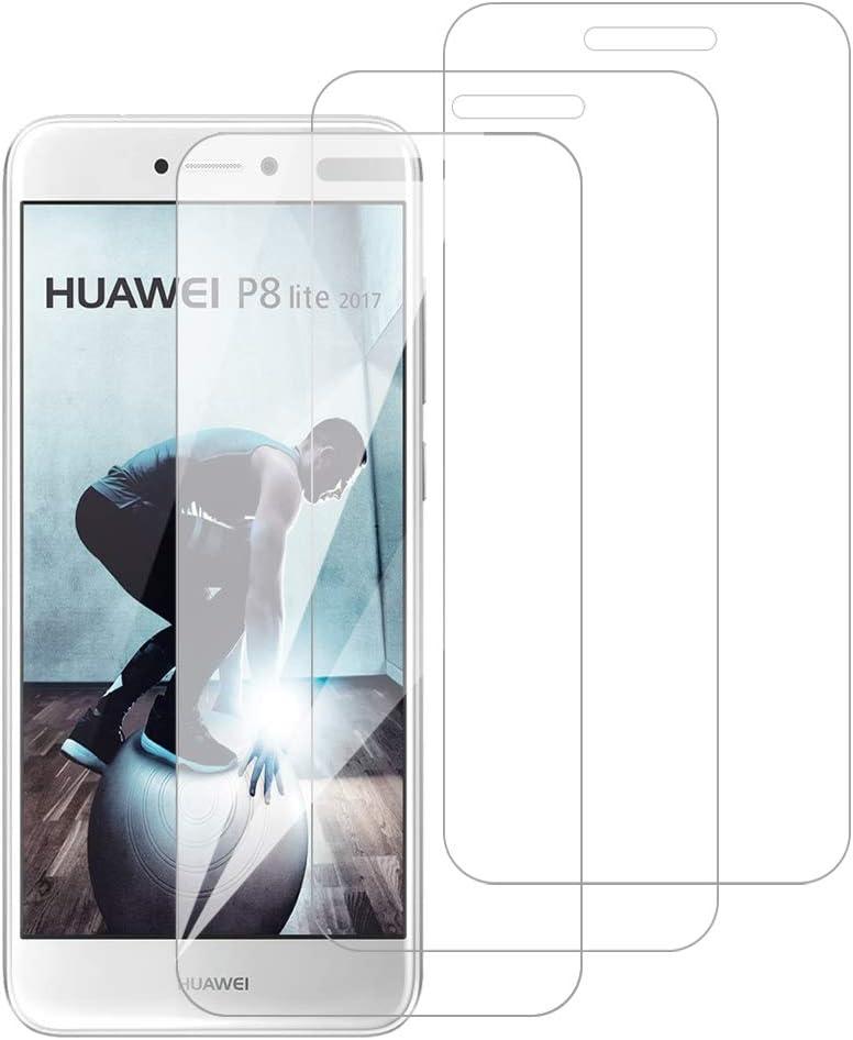 [3 Pack] Amonke Protector Pantalla para Huawei P8 Lite 2017 Cristal Templado, Plana pero Incompleta Cobertura, 9H Dureza, HD Transparente, Anti-Burbujas, Screen Protector para Huawei P8 Lite 2017