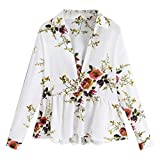 Lmx+3f Sexy Fashion Womens Casual V-Neck Long Sleeve Flower Print Loose Pullover Blouse Soft Comfy Solid Tops White