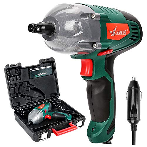 LANNERET Electric Impact Wrench,1/2 inch 12 Volt DC Mighty Portable Car Impact Wrench Gun Kit,300 ft-lbs,Square Drive,Tire Repair Tools with Sockets and Carry Case