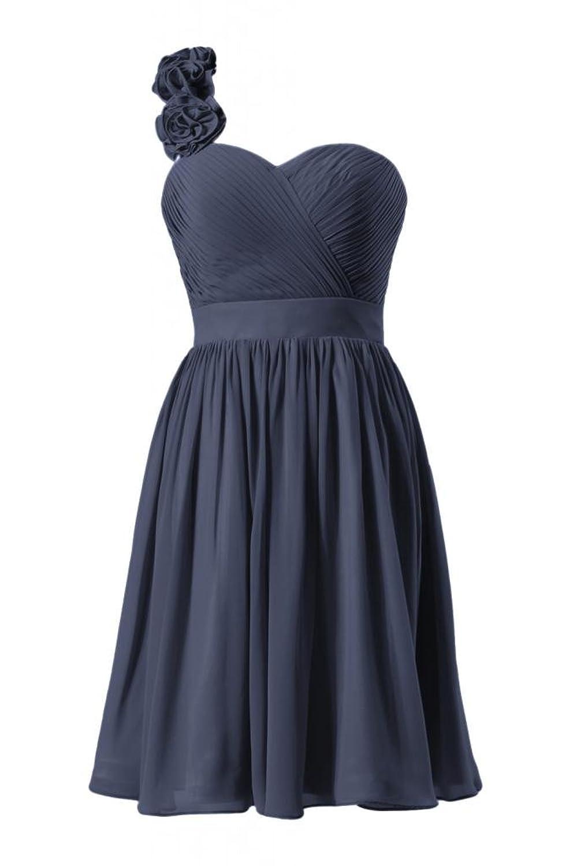DaisyFormals One-Shoulder Knee Length Chiffon Cocktail Bridesmaid Dress(BM223)