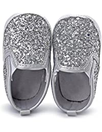 Baby Boy Girls Sequin Crib Shoes Toddler Soft Sole...