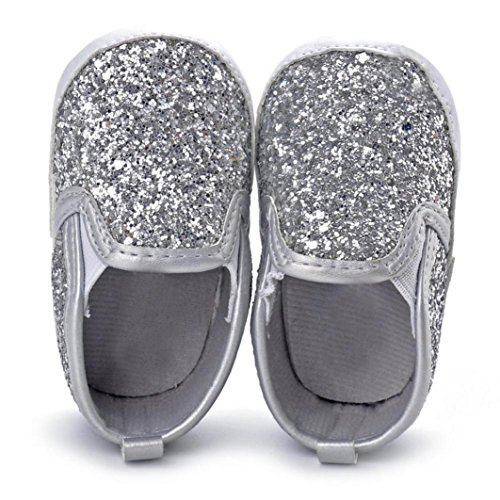 Voberry Baby Boy Girls Sequin Crib Shoes Toddler Soft Sole Anti-slip Outdoor Sneakers (6~12 Month, Silver)