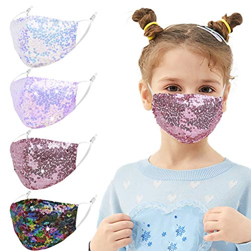 Wrakus 4 Pcs Kids Reusable Adjustable Face Mask with Ear Loops for Protection for Girls Boys