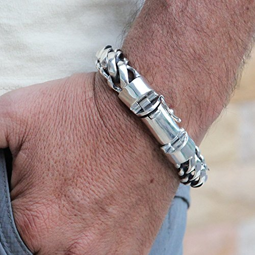 925 Sterling Silver Heavy Round Snake Men Bracelet - Made in Thailand - 9 by VY Jewelry (Image #5)