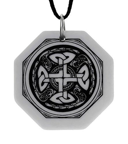 UNYKTOUCH Handmade Celtic Nevern Cross Octagon Shaped Porcelain Pendant (on Black Cord)