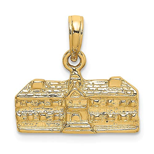 (14K Yellow Gold 3-D Wren Buildings Williamsburg, Va Charm Necklace Pendant with 18
