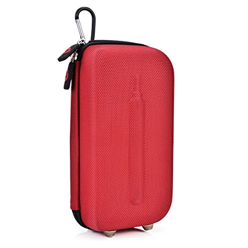Hard Travel case/carrier internal mesh pocket-Caribiner Hook included- Fire Red- Universal fit compatible with The LG-1000 Disposable E-Cigar
