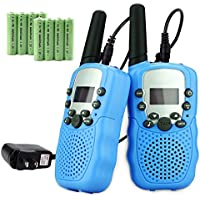 CosyVie Rechargeable Kids Walkie Talkie 2 Ways Radio, 22 Channel, Built in Flash Light FRS/GMRS, Mini Walkie Talkies for Kids with Charger & Rechargeable Batteries (Pair/Pack) (Blue)
