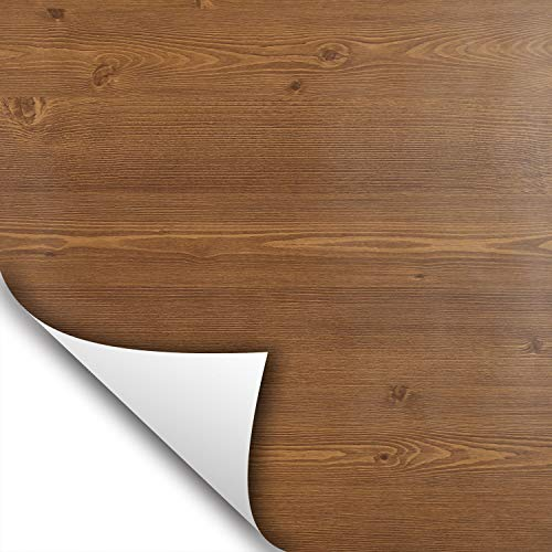 wallstickery Chestnut Wood Grain Paper Prepasted Vinyl Film Self Adhesive Removable Peel Stick Contact on Furniture Kitchen Cabinets Shelf Drawer Liner (Chestnut)