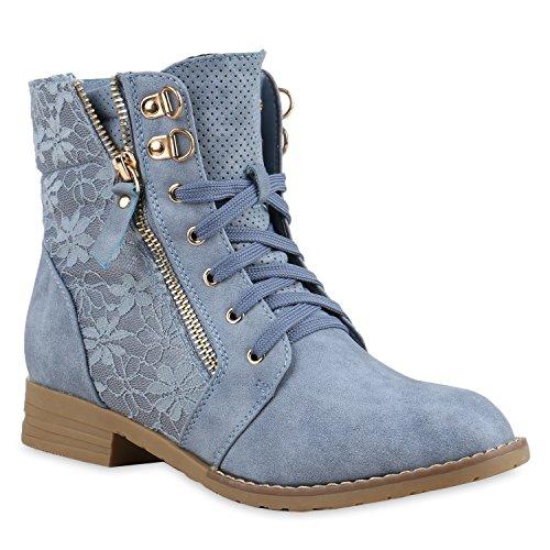 Stiefelparadies Damen Schnürstiefeletten Stiefeletten Worker Boots Kurzschaft-Stiefel Spitzenstoff Leder-Optik Schuhe Zipper Flandell Blau
