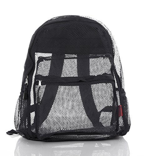 Mesh Backpack For Kids Men & Women By Bravo - Large School & Travel Bag - Stylish Transparent See Through Design - Comfortable Padded Shoulder Straps - Utility Pocket & Bottle Holder BLACK