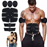Ultimate Abs Stimulator Abdominal Toning Belt EMS Toner Body Muscle Trainer, Wireless Portable Unisex Fitness Training Gear Workout Home Office Fitness Equipment For Abdomen/Arm/Leg (New 6 pack black)