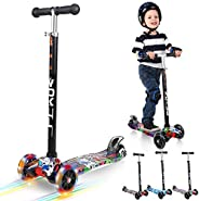 Vokul 3 Wheels Kids Mini Kick Scooter wiht LED Flashing Wheels & Adjustable Height for Age 3-8;Up to 50kg/