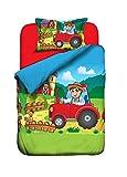 Aminata Kids - süße Jungen Kinder-Bettwäsche 100x135 roter Traktor Bauernhof Bauer Jungen-&-Mädchen-Bettwäsche-Kinder Baumwolle Reißverschluss
