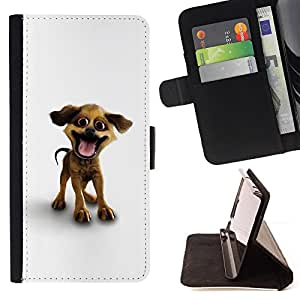 BullDog Case - FOR/Apple Iphone 6 PLUS 5.5 / - / Funny Happy Puppy Dog /- Monedero de cuero de la PU Llevar cubierta de la caja con el ID Credit Card Slots Flip funda de cuer