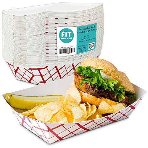 [125 Pack] 5 lb Heavy Duty Disposable Red Check Paper Food Trays Grease Resistant Fast Food Paperboard Boat Basket for Parties Fairs Picnics Carnivals, Holds Tacos Nachos Fries Hot Corn Dogs