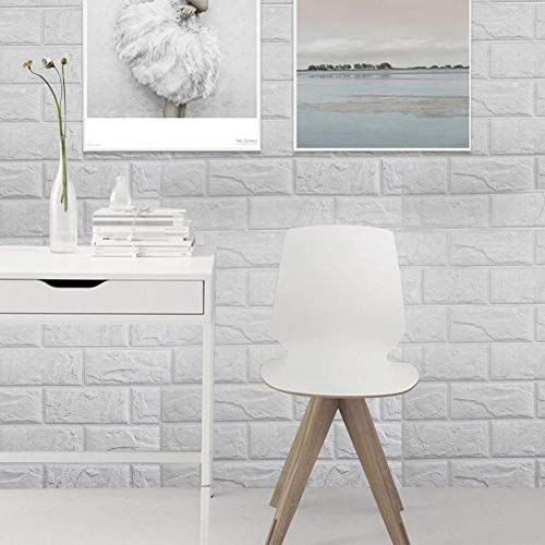 PrecisionDecor 3D Brick Wall Stickers Panel Self-Adhesive Peel and Stick White Faux Brick for Wall Decor 30X28INCH (20 PC) by PrecisionDecor (Image #4)