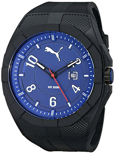 PUMA Men's PU103501008 Iconic Black Blue Analog Display Japanese Quartz Black Watch
