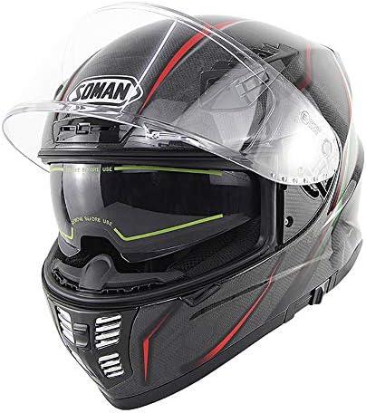 男性と女性のダブルレンズフルヘルメット蛇状炭素繊維乗馬ヘルメットオフロードレース用ヘルメットECE/DOT標準大ヘルメット