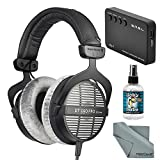 Beyerdynamic DT 990 PRO 250 Ohm Headphones with Amplifier + Cleaner + Fibertique Cloth Bundle