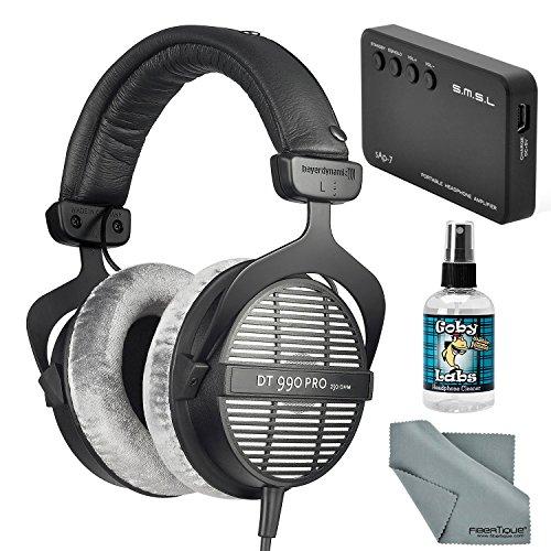 Beyerdynamic DT 990 PRO 250 Ohm Headphones with Amplifier + Cleaner + Fibertique Cloth Bundle
