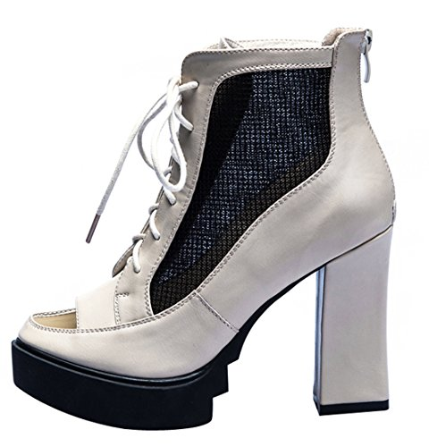 Laikakingdom Breathe Grenadine Fashion Peep-toe Rough Heel Lady Shoes(6.5 B(W) US, Red)