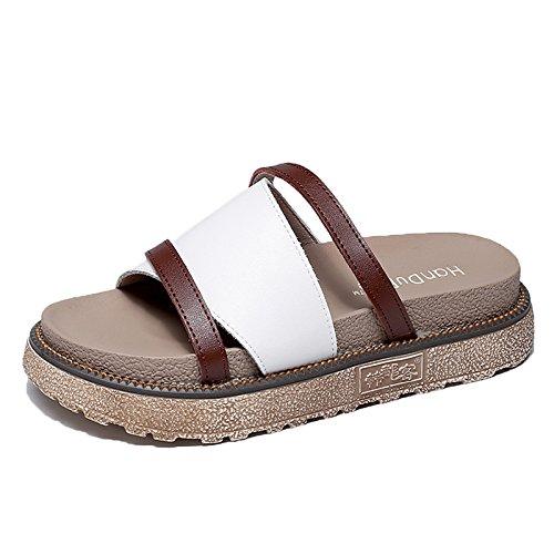 de Flip de de para las mujeres piscina SOHOEOS libre plataforma verano plana moda al de Blanco playa nueva señoras verano de Flop aire sandalias yUwIxR8qYx