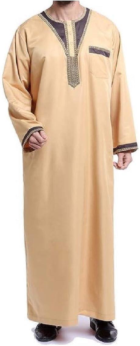 Godeyes Mens Long Sleeve Robes Navajo Floral Muslim Islamic Arab T-Shirt