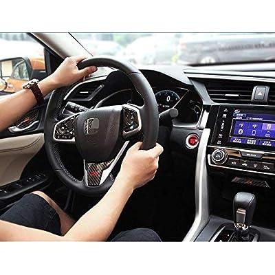 DEMILLO Carbon Fiber Inner Steering Wheel Cover Trim Refit Fit For Honda Civic Si 2016-2020 2020 2020: Automotive