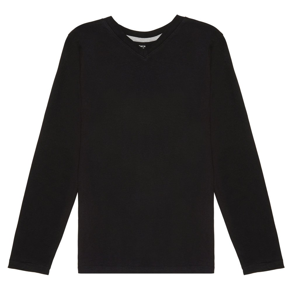 French Toast Boys' Little Long Sleeve V-Neck Tee, Black 4