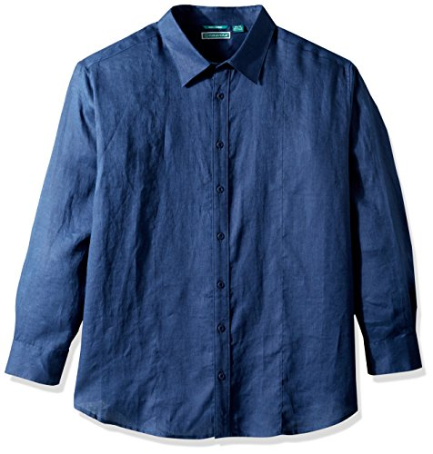 Cubavera Men's Big Long Sleeve 100% Linen Essential Shirt with Pintuck Detail, Dress Blues, X-Large Tall (Pintuck Big Shirt)