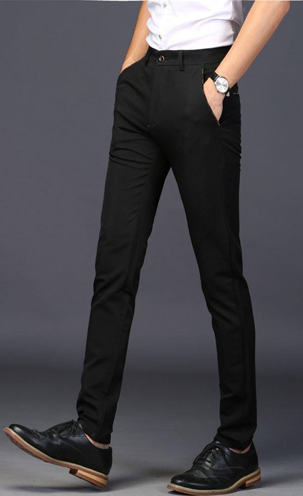 Plaid&Plain Men's Stretch Dress Pants Slim Fit Skinny Suit Pants 7104 Black 32 by Plaid&Plain (Image #5)