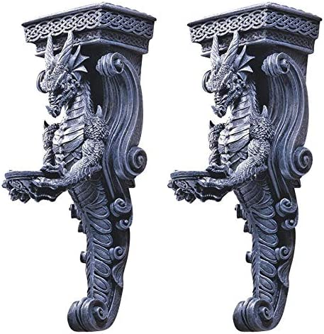 Design Toscano Dragons of Darkmoor Castle Wall Caryatids – Set of Two