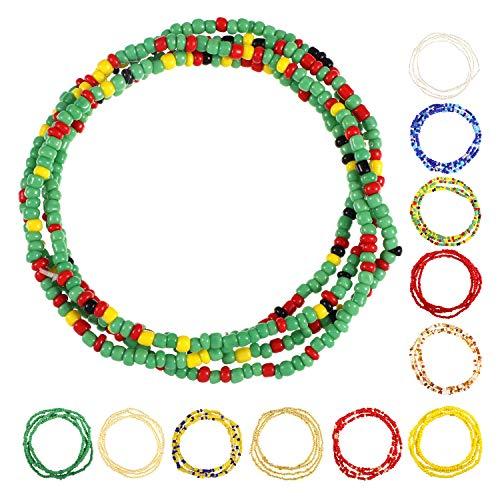 (12 Pieces Jewelry Waist Bead Set African Waist Beads Body Beads Belly Chain Bikini Jewelry for Summer Women Girls)