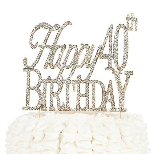 Happy 40th Birthday Cake Topper, Gold Crystal Rhinestone 40